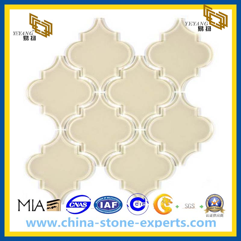 Cream Glass Mosaic Colorless Lantern Shaped Tiles For Wall