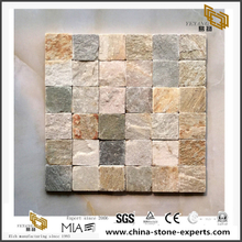 Light Mixed Color Cream And Yellow Slate Mosaics Irregular Surface