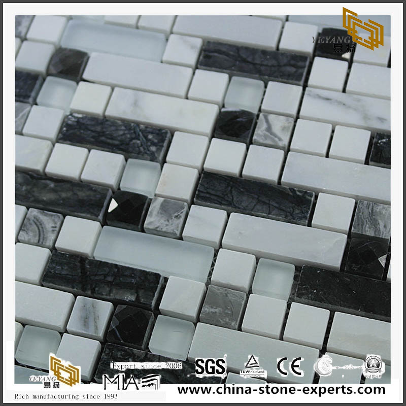 Thick Mixed Color Crystal Glass 8mm Stone Mosaic for Swimming Pool chinese outlet
