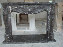 Black/Nero Marquina Freestanding Indoor Marble Fireplace