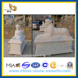 White Polished Marble Stone Lion Sculpture for Garden