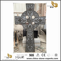 Black Carved Cross Monuments for Cemetery top Quality