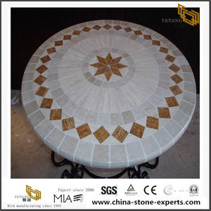 Mosaic Medallion Tile And Travertine Medallion Goldfish Pattern Waterjet Tiles Sale