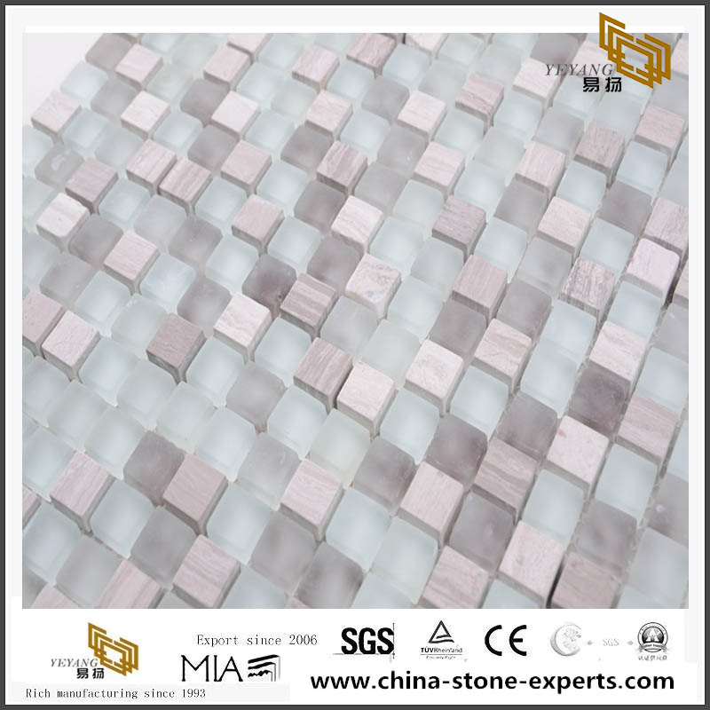 Italia Style Mixes Glass White Crystal Oriental Marble Mosaic Grind Arenaceous Feeling