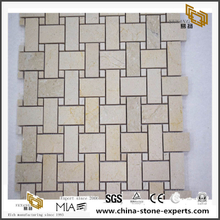 Decoration Beige Marble Basket Weave Stone Tile Swimming Pool Mosaic And Wall Tiles