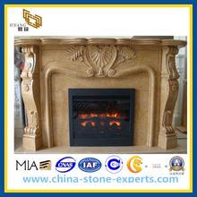 Natural Stone Yellow Marble Fireplace for Indoor & Outdoor(YQG-F1005)