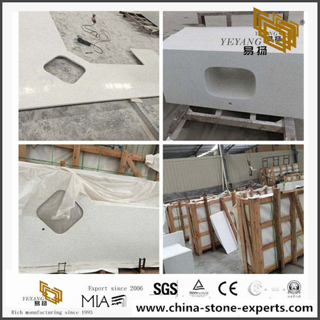 Cheap Prefab Sparkling White Quartz Countertop