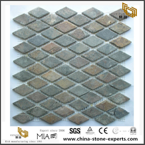 Natural Stone With Dark Color Tiles Rusty Slate Diamond Mosaic Tiles
