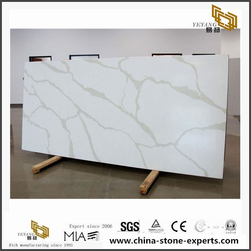 China Cheap Calacatta Gold Quartz Stone Slab for Kitchen Countertop