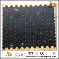 Stylish Nero Marquina Marble Honeycomb Panel Mosaic Cost-Effective