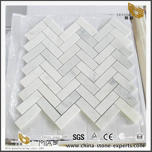White Tiles Marble Mosaic Herringbone Mosaic Carrara For Project