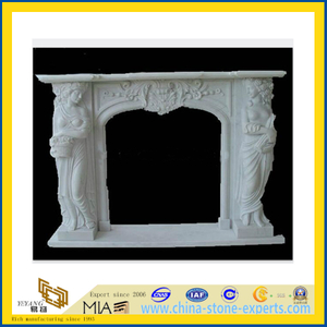 Popular Decorative White Marble Fireplace(YQC)