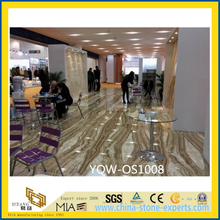 White & Yellow Translucent Tara Onyx Stone Slabs for Flooring