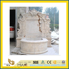 Hand Carved Beige Marble Stone Outdoor Wall Fountain(YQG-LS1031)