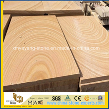 Precut Natural Yellow Wooden Grain Sandstone Cut-to-Size Slab