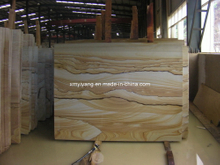 Yellow Landscape Sandstone Slabs for Wall Cladding, Flooring
