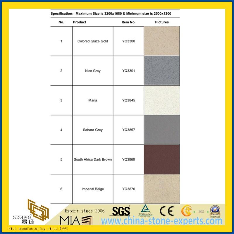 Fine Grain Artificial Manmade Quartz Stone Tile For Floor Wall Kitchen Top