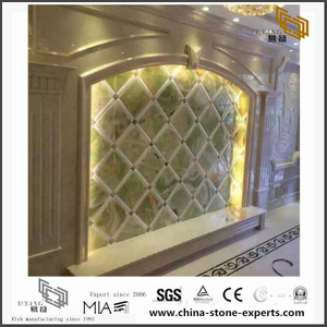 Green Translucent Onyx Marble Backgrounds for Bathroom Design (YQW-MB0726020)