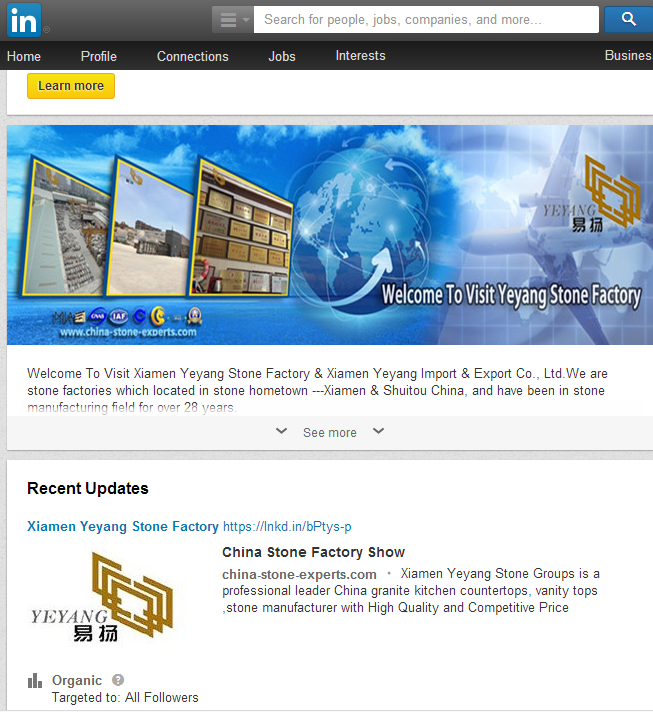 Congratulation:Yeyang Stone Factory Linkedin.com Company Page have been published!