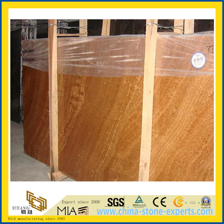 Chinese Yello Teak Wood Marble Slab for Countertop/Vanity Top