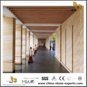 Yellow Wooden Vein Sandstone Floor Tiles Discount