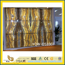 Polished Yellow Onyx Stone Slabs for Wall with Cheap Price\ (YQW-OS1007)