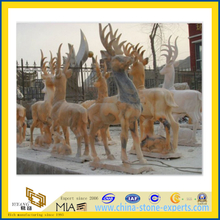 Brown Stone Animal Deer Sculptures (YQA)