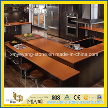 Prefab Orange Artificial Quartz Kitchen Counter Top / Bar Top