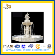 White Marble Female Statue Oudoor Stone Fountain
