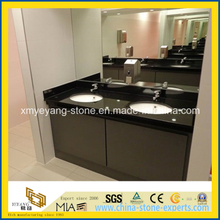Prefab Black Quartz Commercial Vanity Top for Public Bathroom