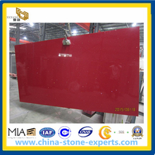 Crystal Red Quartz Artificial Stone Slab for Countertop (YYAZ)