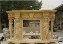 Decorative Hunan Beige Marble Fireplace Mantel
