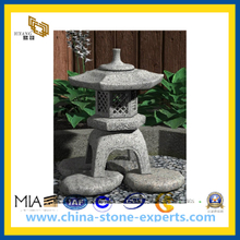 Natural Grey Granite Stone Lantern for Outside Garden