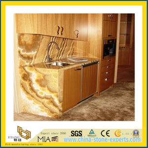 Natural Stone Polished Honey Onyx Marble Countertop for Kitchen/Bathroom (YQC)