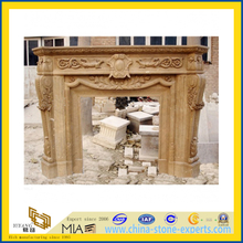 Cheap Price Design Marble Stone Carving Fireplace with Mantel(YQG-F1011)