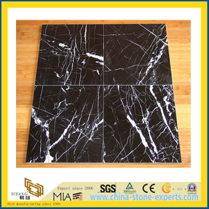 Chinese Black Neor Maqurina Marble Tile for Flooring/Wall Decoration