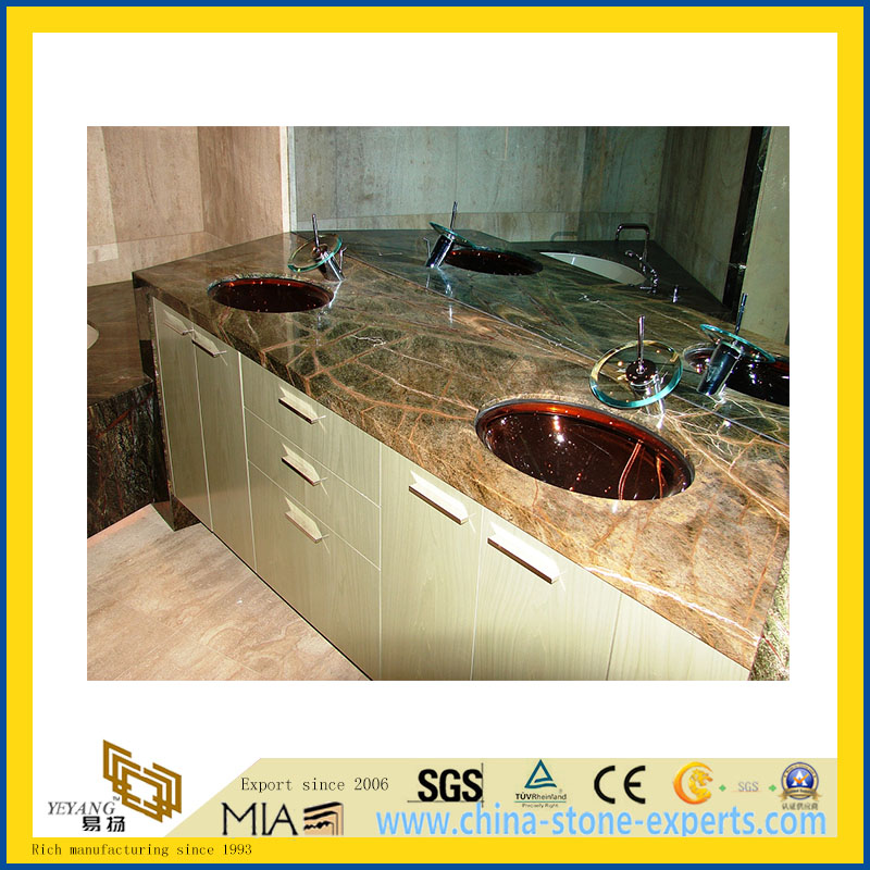Natural Stone Polished Bathroom Rainforest Green Marble Vanitytop (YQC)