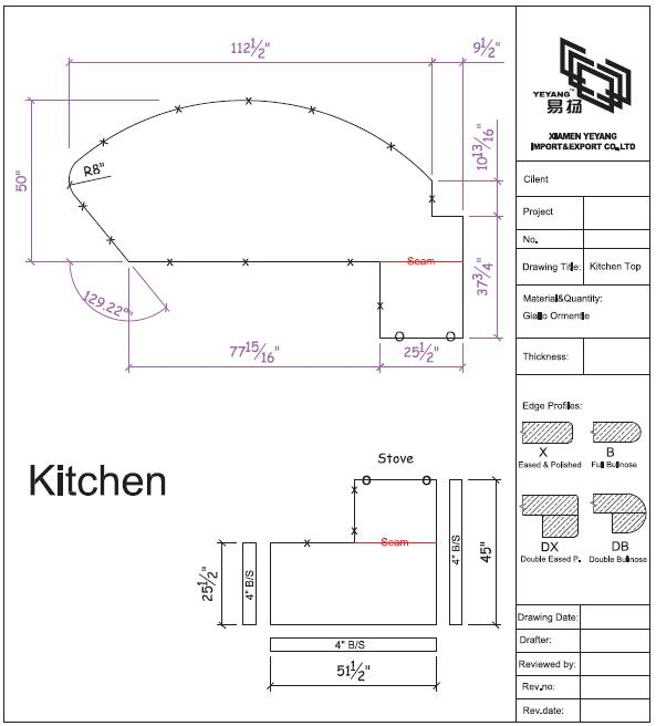 Kitchen countertop cad drawing-yeyang stone