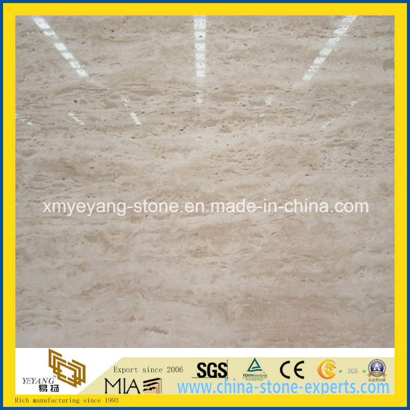 Natural Roman Beige Travertine for Cut-to-Size Slab or Floor Tile