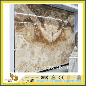 Brown / Yellow Natural Stone Onyx for Hotel Background