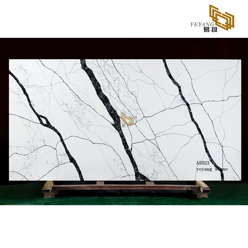 Calacatta white quartz slabs tiles brown vein stone for sale (A5023)