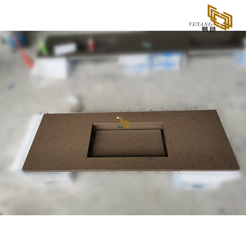 Artificial stone brown quartz slab for bathroom countertop home decoration