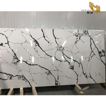 High polished grey vein white calacatta quartz big tiles slabs kitchen countertops
