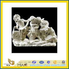 White Marble Stone Angel Carved Statue Sculpture with Boy(YQG-LS1009)