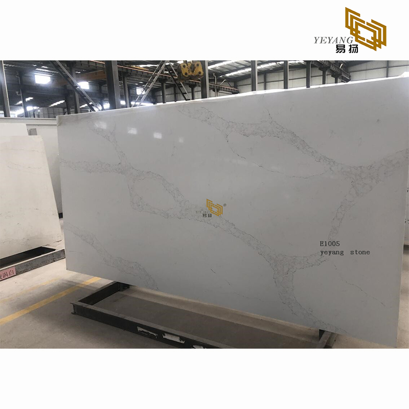 Grey white quartz slabs countertops for home decoration project-E1005