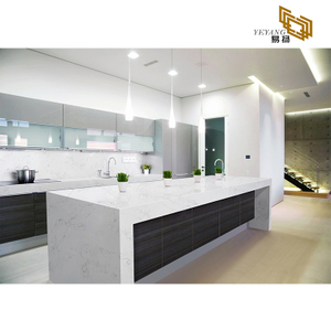 Solid surface kitchen countertop white quartz slabs wall tiles backsplash D2018