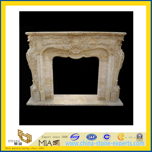 Custom Marble Stone Carved Fireplace Mantel Surrounds for Sale(YQC)