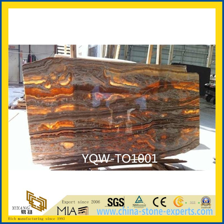 Polished Red Tara Onyx Stone Slab for Wall, Background