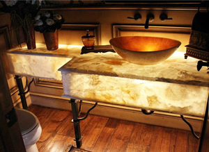 Yellow Wood Grain Marble Countertop Project -YEYANG STONE FACTORY