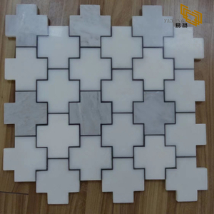Grey Natural Stone White Marble Mosaic Cruciform Pattern